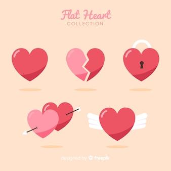 Colección corazones planos