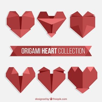 Colección de corazones rojos de origami
