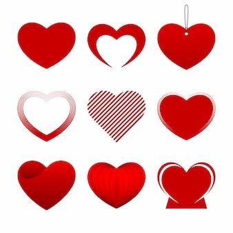 Colección de corazones rojos