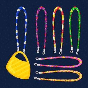 Colección de cordones de mascarilla de moda dibujados a mano