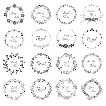 Colección de corona de boda dibujada a mano para boda.