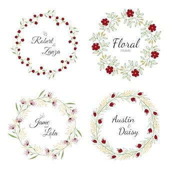 Colección de corona floral dibujada a mano para boda