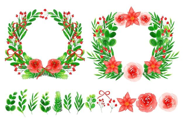 Colección de corona y flores navideñas