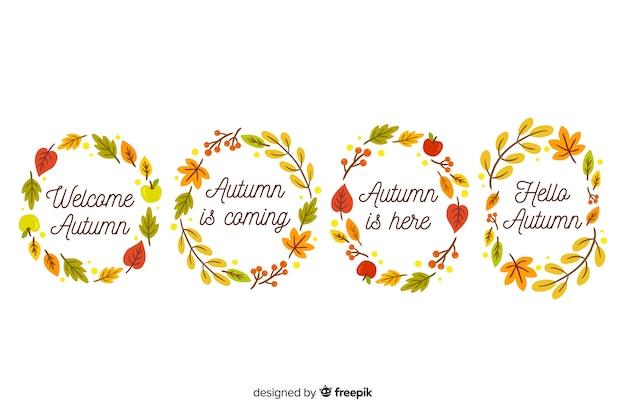 Colección de corona de hojas de otoño dibujados a mano