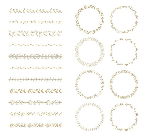 Colección de corona de laurel y cepillo de vector