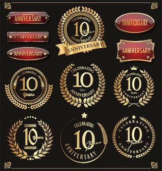 Colección de corona de laurel retro de aniversario