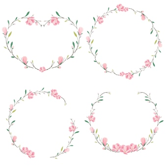 Colección de corona de magnolia rosa corazón y redondo