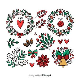 Colección de corona de navidad y flores