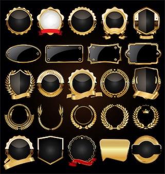 Colección de coronas y etiquetas de laurel dorado vintage retro
