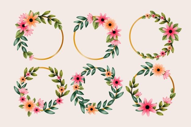 Colección de coronas florales de acuarela pintadas a mano