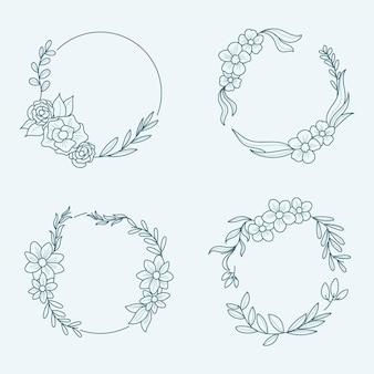 Colección coronas florales dibujadas a mano grabado