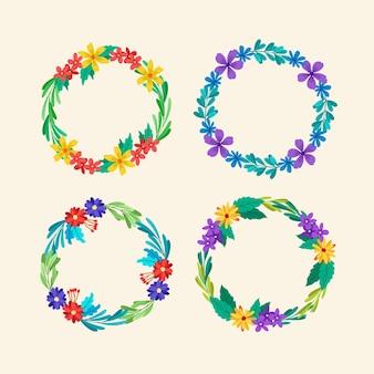 Colección de coronas florales dibujadas a mano