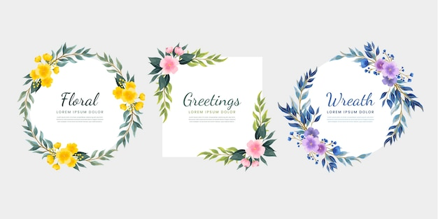 Colección coronas florales dibujadas a mano