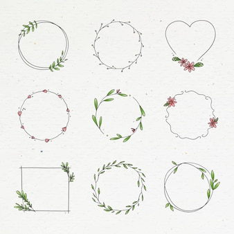 Colección de coronas florales doodle