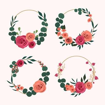 Colección coronas florales planas