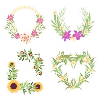 Colección de coronas florales planas