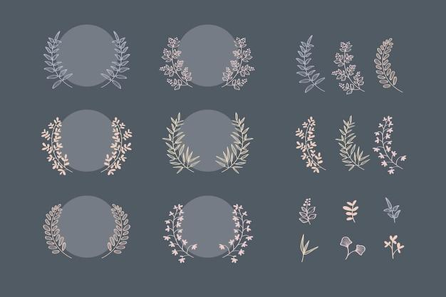Colección de coronas de laurel botánico
