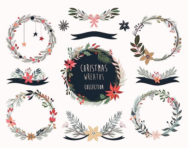 Colección de coronas navideñas con arreglos florales estacionales.