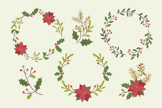 Colección coronas navideñas dibujadas a mano