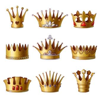 Colección de coronas de oro real de dibujos animados