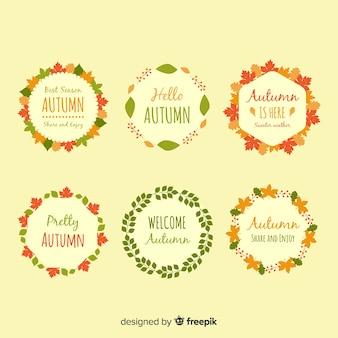 Colección de coronas de otoño dibujados a mano