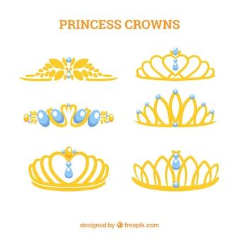 Colección de coronas de princesas con joyas azules