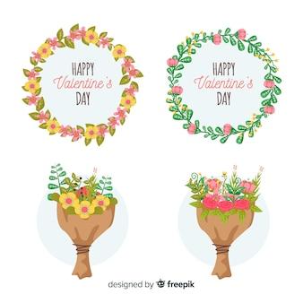 Colección de coronas y ramos floreles para el día de san valentin