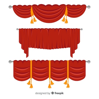 Colección de cortinas rojas en diseño plano