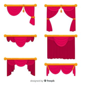 Colección de cortinas rojas de diseño plano