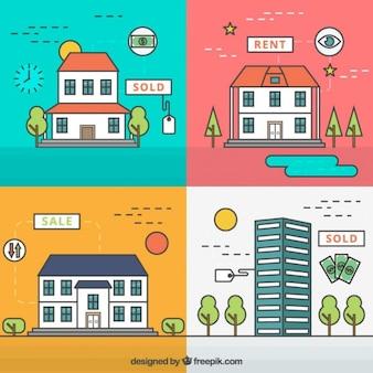 Colección de cosas planas de inmobiliaria