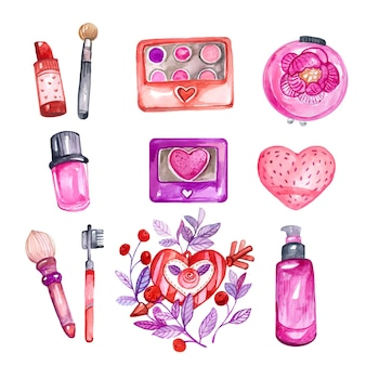 Colección de cosméticos dibujados a mano en acuarela