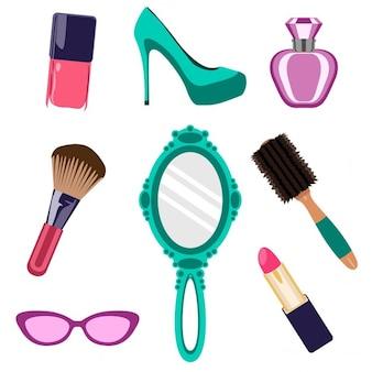 Colección de cosméticos y elementos de belleza
