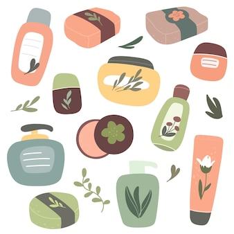 Colección de cosméticos orgánicos, cosméticos naturales y productos para el cuidado del cuerpo. vector dibujado a mano aislado.