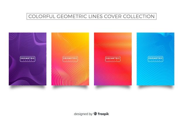 Colección covers coloridas líneas geométricas