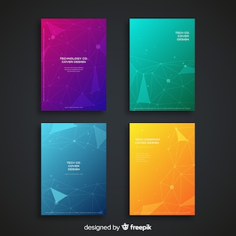 Colección de covers coloridos de tecnología