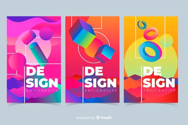 Colección covers formas 3d coloridas flotando