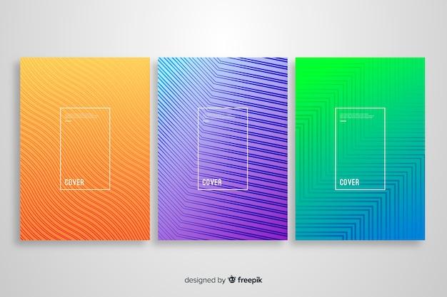 Colección de covers de líneas geométricas coloridas