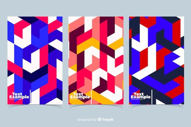 Colección covers patrón isométrico