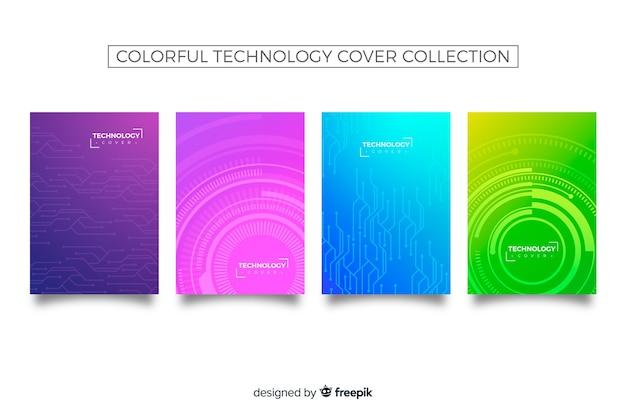 Colección covers patrón tecnológico colorido