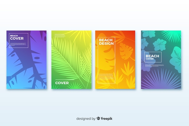Colección de covers de playa con degradado