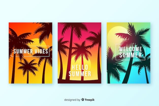 Colección de covers de playa con degradado