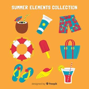 Colección creativa de elementos de verano