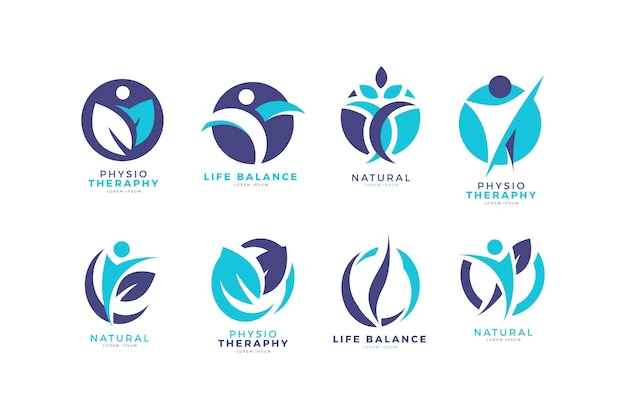 Colección creativa de logotipos de fisioterapia. vector gratuito