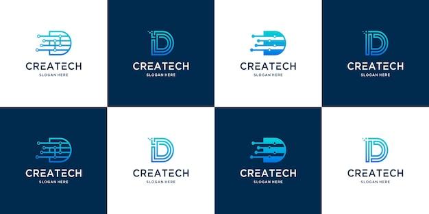 Colección creativa de logotipos de letras d para tecnología digital moderna