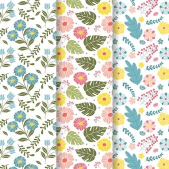 Colección creativa de patrones de primavera