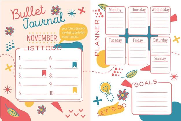 Colección creativa de planificador de revistas bullet