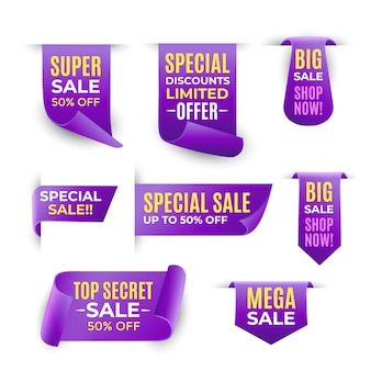 Colección de credenciales de ventas realistas