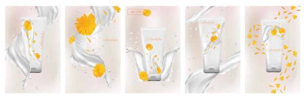 Colección crema de caléndula en tubo. salpicaduras de leche con flor de caléndula. producto cosmético.