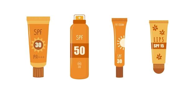 Colección de cremas spf. tubos de protección solar. protección para la piel de la luz solar ultravioleta.