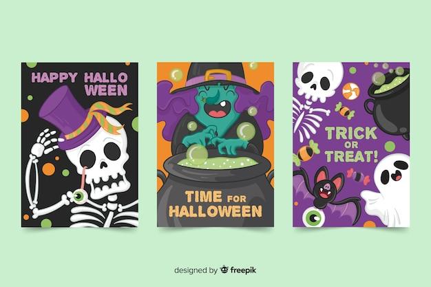 Colección de criaturas de tarjetas de halloween dibujadas a mano